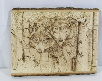Pair of Wolves in Birch Forest Pyrography