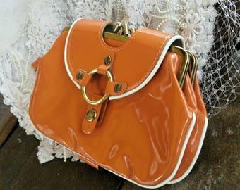 Orange 60's clutch/wristlet/vintage clutch/60's clutch/retro purse/vintage purse/vintage wristlet/wristlet bag/orange 60's clutch/clutch