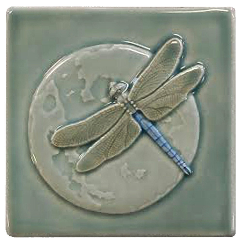 Dragonfly single ceramic art tile wall decor nature tile zoom dailygadgetfo Images