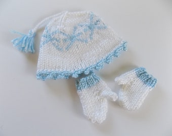 Doll Hat and Mitten Set, 18 Inch Doll Clothes, Snowflake Doll Hat, AG Doll Mittens, White and Light Blue, Winter, Doll Accessories