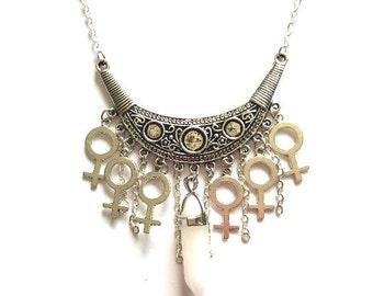 Feminist Necklace, Venus Symbol Necklace, Woman Symbol Necklace, Riot Grrrl Necklace, Girl Gang Necklace, Girl Power Necklace, Feminism