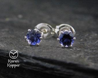 Blue Iolite gemstone earrings, 4mm, in a sterling silver setting, sleepers earrings. September birthstone earrings. 170