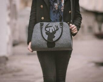 Deer bag Felt bag Deer handbag Deer purse Women handbag Shoulder bag Top handles bag Grey handbag Felt purse Felt shoulder purse