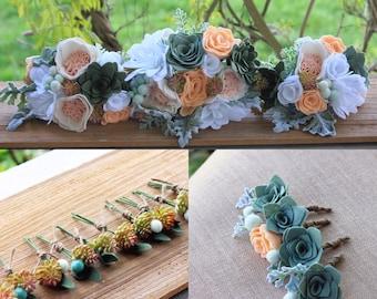 Custom Wedding Felt Flower Wedding Package Bridal Bouquet, Bridesmaid Bouquet, Boutonnières