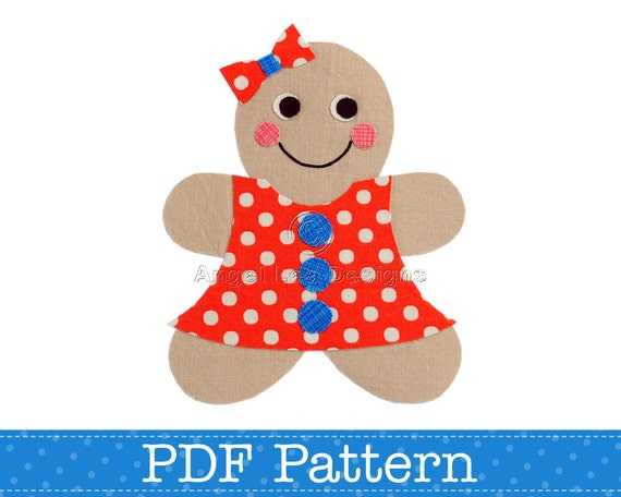 Gingerbread Girl Applique Template. Make Your Own