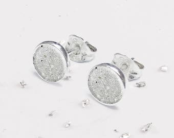Small Sterling Silver Round Resin Inlaid Bezel Set Earrings
