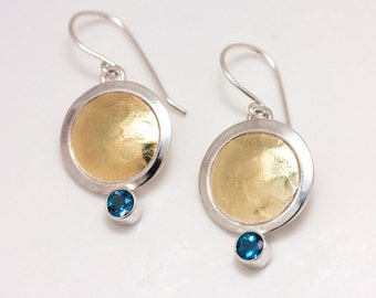 18 Karat Gold and Sterling Silver Bimetal Earrings with London Blue Topaz