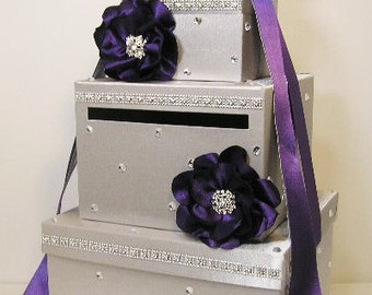 Wedding Card Box Silver  and Purple with handmade flowers Gift Card Box Money Box Holder -Customize your color