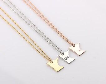 Dainty Minnesota Necklace, Minnesota State Necklace, University of Minnesota, Gold Minnesota Bracelet, State Necklace, Best Friends