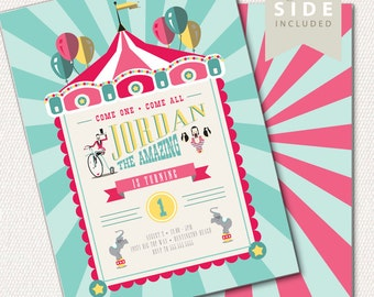 Circus Birthday Invitation, Circus Party, 1st Birthday Circus Invitation, Circus Carnival Invitation // PRINTED or PRINTABLE INVITATIONS
