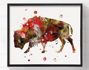 Bison Art, Bison Painting, Watercolor Bison, Bison Print, Watercolor Animal, Wall Art, Wall Decor, Modern Home Decor, Buffalo Art, Framed