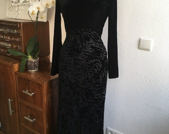 Vintage 90's maxi black dress velours and silk