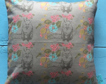 Fox and Flowers cushion in panama organic cotton. 45cm x 45cm