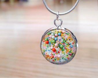 Slime Charm - Birthday Cake Slime Charm Necklace  - Confetti slime - Fluffy Slime Gift for little girls - big girls