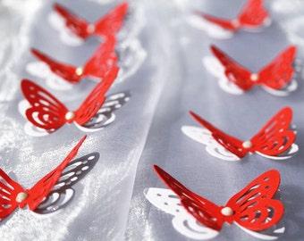 3D RED and White Butterflies/ Paper Butterflies/ Butterflies DIE CUT/ Paper confetti/ Butterflies for scrapbooking/Wedding décor/