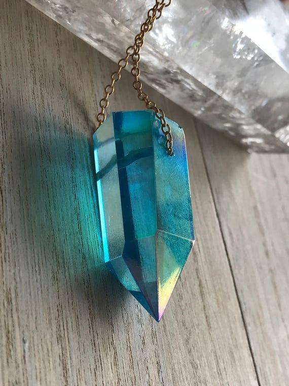 Custom aqua aura quartz boho jewelry large quartz necklace aloadofball Image collections
