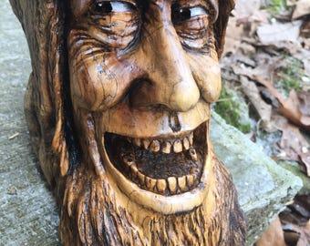 Wood Carving, Rustic Decor, Wood Spirit by Josh Carte, Perfect Wood Gift, Handmade Woodworking, Statue Sculpture, OOAK, Original Art, Ohio