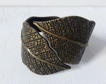 Vintage Brass Leaf Statement Bracelet