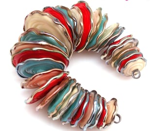 Red  turquoise disc,  lampwork beads, lampwork glass beads, handmade beads, lampwork beads sra, handemade lampwork, glass beads,  MTO
