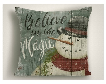 Believe In The Magic Snowman Christmas Throw Pillow, Christmas Decorations Vintage Snowman, Christmas Gifts, Holiday Pillow Covers