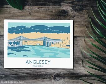 Menai Bridge Art Print   Anglesey   North Wales   1950s style illustration   Cymru   Welsh