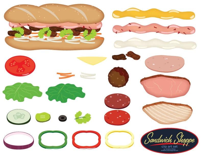 sandwich shoppe clip art set build your own sandwich rh etsy com make your own clipart app make your own clip art collage
