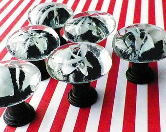 Glass Knobs, White Swirls, Gorgeous Accessory for Your Dresser Drawers, Cabinet or Cupboard Doors or for Hanging  Favorite Photos & Pictures