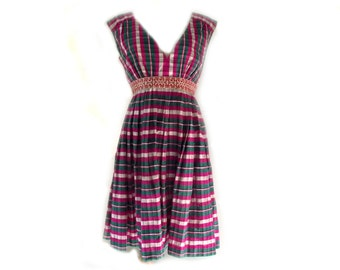 90s Silk Dress / Vintage Inspired Party Dress / Plaid n Pleated / Magenta Green / Sz S Sz M