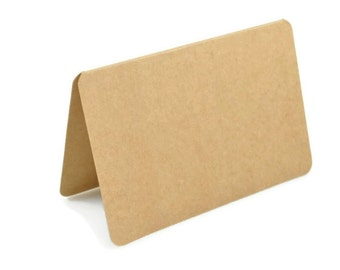 KRAFT FOLDED CARDS (Set of 5 cards) - 350gsm Round Edge Kraft Blank Gift Card Size Set (15cm x 10cm)
