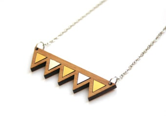 Wooden triangle wood necklace, natural jewel, geometric modern minimal, gold silver color, elegant chic and feminine jewelry, made in France