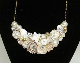 Bridal Statement Necklace- Gold Wedding Necklace- Bridal Necklace- Rhinestone Bridal Bib- Gold & Ivory Necklace- Gold Bridal Bib-Wedding Bib