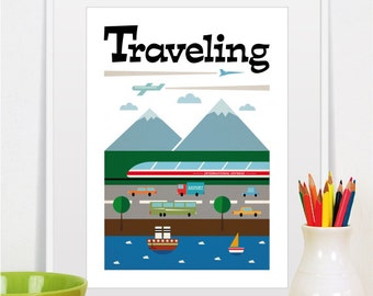 Baby Boy Travel Nursery Retro Print Mid Century Modern Home Decor Poster Kids Room Cars Illustration Wall Art Size A3 or 11x14