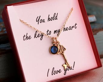 Anniversary Necklace / You hold the key to my heart necklace / Gold Filled necklace with birthstone