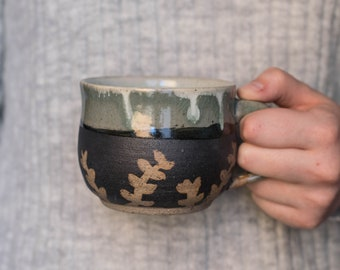 Green Fern Ceramic Mug - Handmade - Pottery