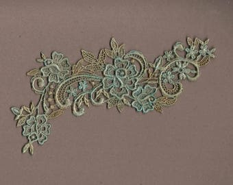 Hand Dyed Floral Venise Lace Applique Rose Scroll Aged Turquoise Bliss