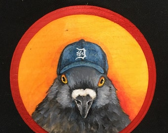Pigeon Baseball Fan- Small Painting