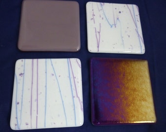 Fused Glass Coasters with Purple Iridescent, Dusky Lilac and Blue Combo - set of 4