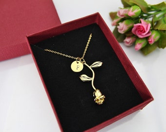 Rose Necklace, Gold Rose Charm Necklace, Rose Pendant, Flower Rose Charm, Rose Charm, Mother's Day Gift, Gardening Gift, Personalized Gift,