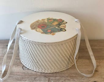 Vintage 1940's Wicker Sewing Basket