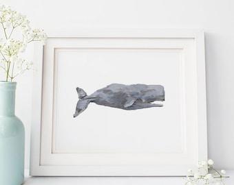 Sperm Whale, Wall Art Printable, Whale Art Print, Whale Wall Art, Sperm Whale Art, Instant Download, Printable Art, Digital Prints Whale Art