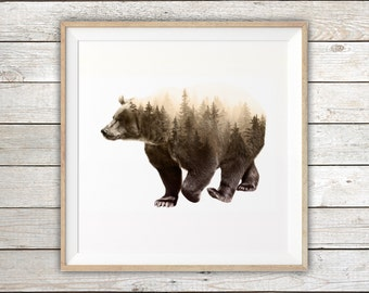 "Printable - Brown Bear Double Exposure Art Print - Instant Digital Download - Digital Art Print - 12"" x 12"" or 30"" x 30"""