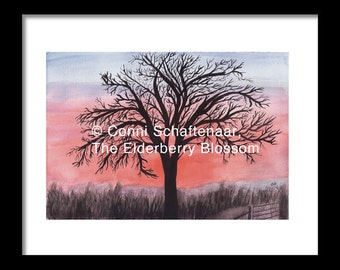 Father's Day Gift Idea Instant Print Download 5x7 Print from Watercolor Painting Winter Walnut Tree in Sunrise for matting and framing