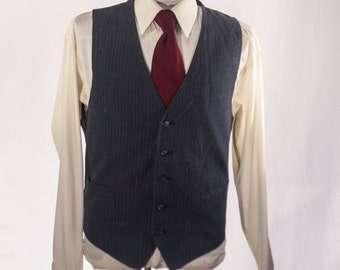 Men's Suit Vest / Medium / Vintage Dark Gray Pinstripe Waistcoat  / Size 41