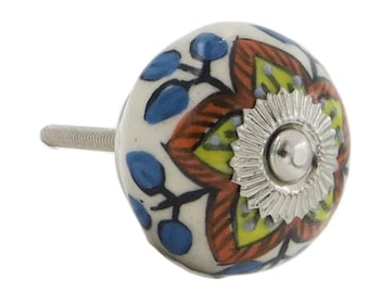 Yellow and Red Floral Design, Kitchen Pulls, Drawer Pulls, Dresser Knobs - M166