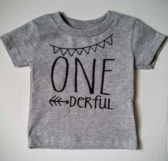 One Year Old Grey T Shirt Derful Graphic Baby Tee Birthday 1st Girl Boy 1 Smash Cake