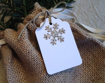 Silver Glitter Brown Craft Snowflake Gift Tags