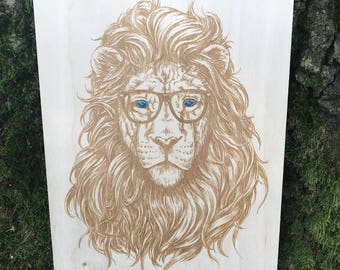 Hipster Lion Engraving on Wood!  Wood Wall Art!  Wood burning and hand painted.