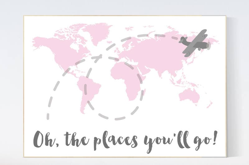 Pink nursery decor world map nursery oh the places youll go pink nursery decor world map nursery oh the places youll go world map wall art travel nursery decornursery decor girls pink gray gumiabroncs Images
