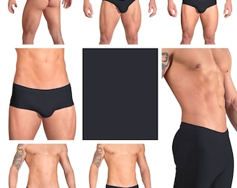 Solid Black Swimsuits for Men by Vuthy Sim.  Choose Thong, Bikini, Brief, Squarecut, Boxer, or Board Shorts - 03