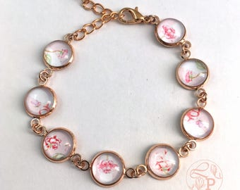 Vintage floral rose gold bracelet / pink rose gold jewelry / purple butterfly / pale pink / shabby chic style rose gold jewellery